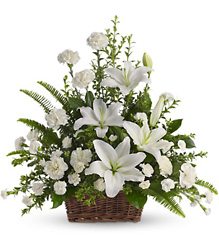 Peaceful White Lilies Basket from McIntire Florist in Fulton, Missouri