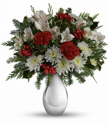 Teleflora's Silver And Snowflakes Bouquet from McIntire Florist in Fulton, Missouri