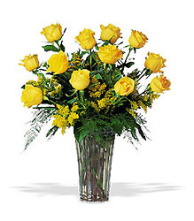 A Dozen Yellow Roses from McIntire Florist in Fulton, Missouri