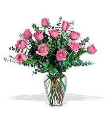 One Dozen Pink Roses from McIntire Florist in Fulton, Missouri
